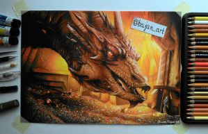 Smaug Hobbit drawing by Bajanoski