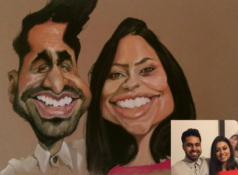 Commission couple caricature by byztro