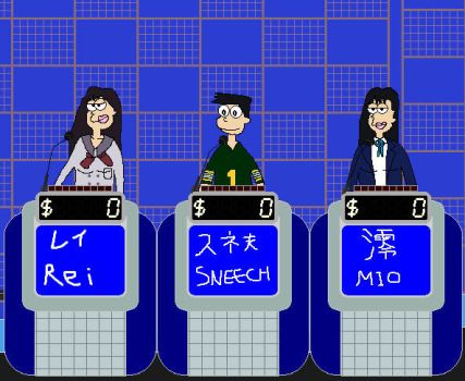 Rei vs. Sneech (Suneo) vs. Mio on Jeopardy '91 by FromEquestria2LA