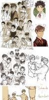 APH: Kid!(Spain + Romano) doodle heap by Zieberich