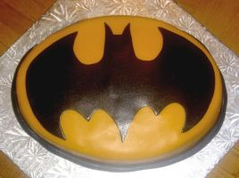 Batman symbol cake by Cakerific