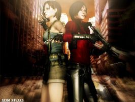 Ada Wong and Jill Valentine by NeroNivans