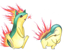 Cyndaquil and Quilava by SonARTic