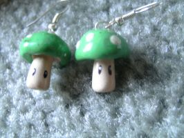 Mario Mushroom Earrings by ceciliaalovee