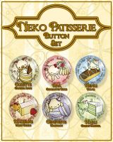 Neko Patisserie Button Set by ShoriAmeshiko