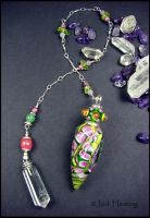 Mystic Heart - Glass Crystal and Gemstone Pendulum by andromeda
