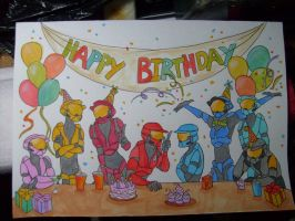 Red vs Blue birthday party by AltairA7Vn