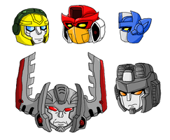 Transformers Armada MS paint heads by the-edude