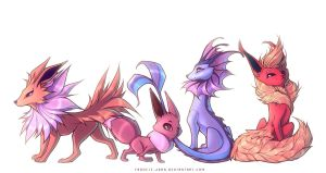 Eevee and Gen 1 Evolutions by francis-john