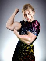 Chloe Moretz Muscle Pose by acidrain101