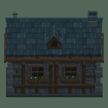 Medieval Village House (blue) by Kingkersharks