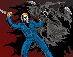 Michael Myers vs. Ghostface by JamusDu