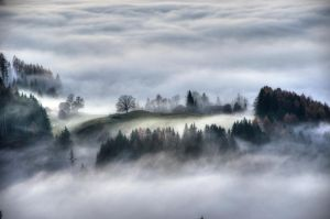 houses in the fog by HeliLMR