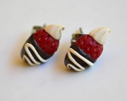 Chocolate Dipped Strawberry Earrings by yobanda