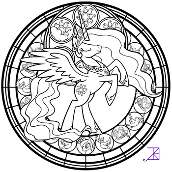 Stained Glass: Celestia -take 2- -line art- by Akili-Amethyst