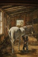 The Blacksmith Shop detail- Oil Painting by AstridBruning