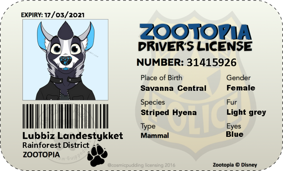 My Zootopia driver's license by Lubbiz