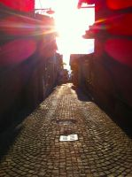Cobblestone alley at sunset by Thatguyuare