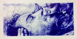 Ballpoint pen drawing of movie scene by chaseroflight