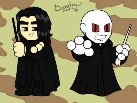 Chibi Snape and Voldemort by cardinalbiggles