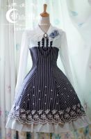 White moon blue strips lolita dress by miccostumes