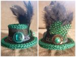 Green + Black Mini Hat Hair Clip by AbsolutelyFascinated