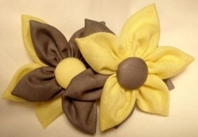Yellow and Grey Fabric Flower Hair Barrettes by jenlucreations