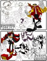 Sketches-Eggman+Shadow by herms85