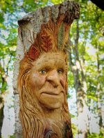 Fall Female Wood Spirit carving by RiverOtterWidget