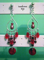 Red Boho Chandelier Earrings by BloodRed-Orchid