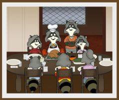 Raccoons Thanksgiving by KrDoz