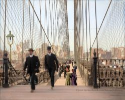 Brooklyn Bridge, New York, 1905 Colorized by Mygrapefruit