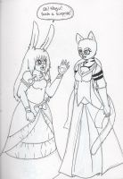 Inked - Lillian and Nayu at a Fancy Dinnerparty by Elainatehkitty