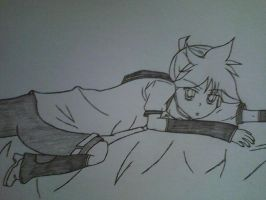 Len laying down by KarenElricKagamine