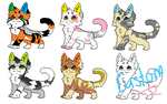 5 points cat adoptables (+ Custom) - OPEN by Wickaii