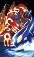 Groundon and Kyogre by Frey06