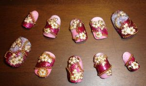 Pink Sakura Nails for Yukata by Kit-Kat-Choco