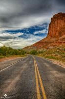 The Red Cliff Over the Highway HDR by mjohanson