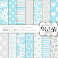70% OFF Blue and Grey Digital Scrapbook Paper by KaipheArt