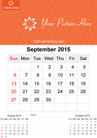 September 2015 Calendar Template Vector Free by 123freevectors