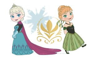 Chibi Elsa and Anna by MarvelPoison