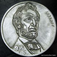 Lincoln Coin Carving by Shaun Hughes by shaun750