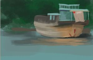 Old speed painting of boat by Luherc