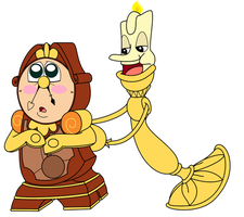 Disney RP Beach Collab - Lumiere and Cogsworth by Strudel--Cutie4427