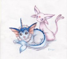 Vaporeon and Espeon by rahless