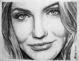 Cameron Diaz in pointillism by erica87