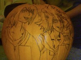 Xion and Roxas drawn on pumpken by kingdomheartsoul