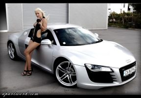 Model Posing on an Audi R8 -2- by DionPa