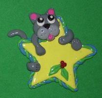Cat and star ornament by ladytech