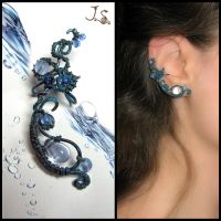 Thawing ice ear cuff by JuliaKotreJewelry